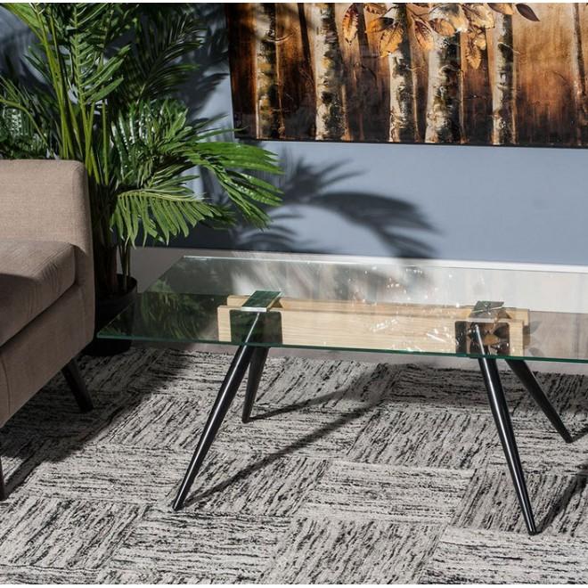 Mesa centro cristal madera muebles room - Mesas de vidrio templado ...