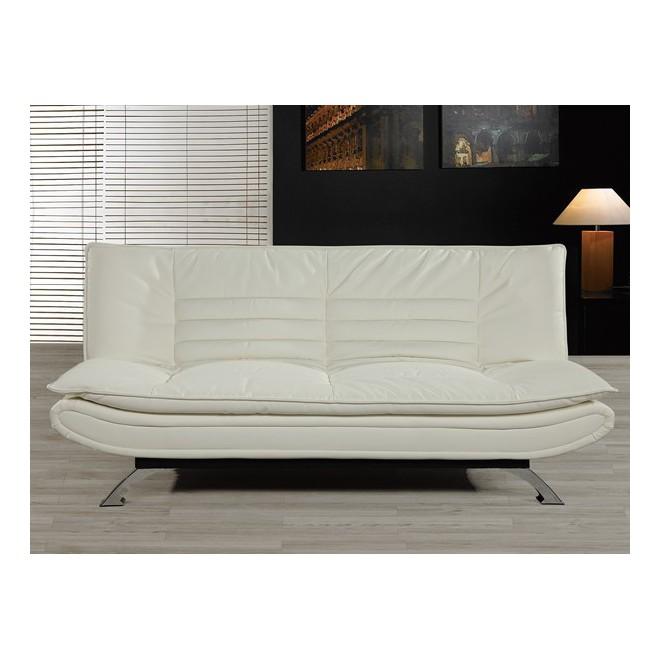 Sof cama charme blanco muebles room - Sofa cama piel blanco ...