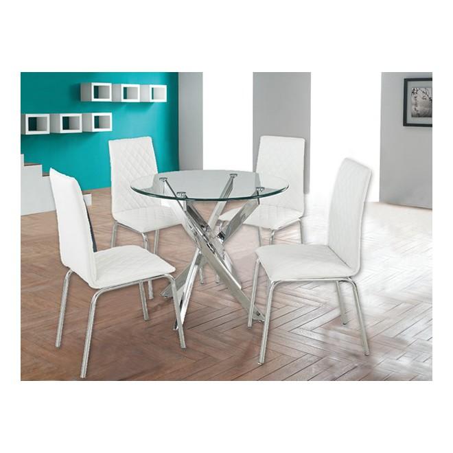 Muebles de comedor con la mesa de vidrio y sillas de colores for Sillas cromadas para comedor
