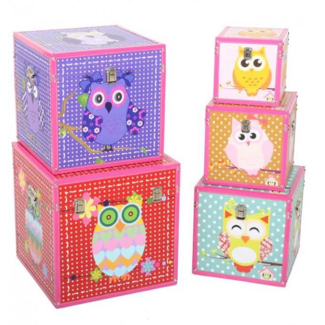 Set 5 ba les infantiles madera muebles room - Baules infantiles ...