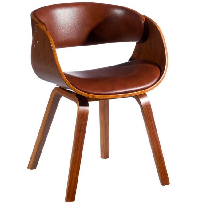 Silla Madera madera ecopiel marrón