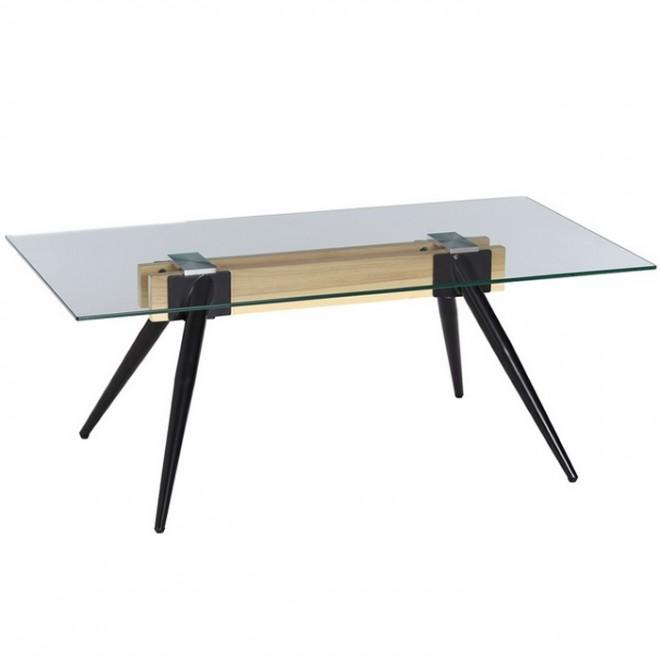 Mesa centro cristal madera muebles room for Mesa de vidrio rectangular