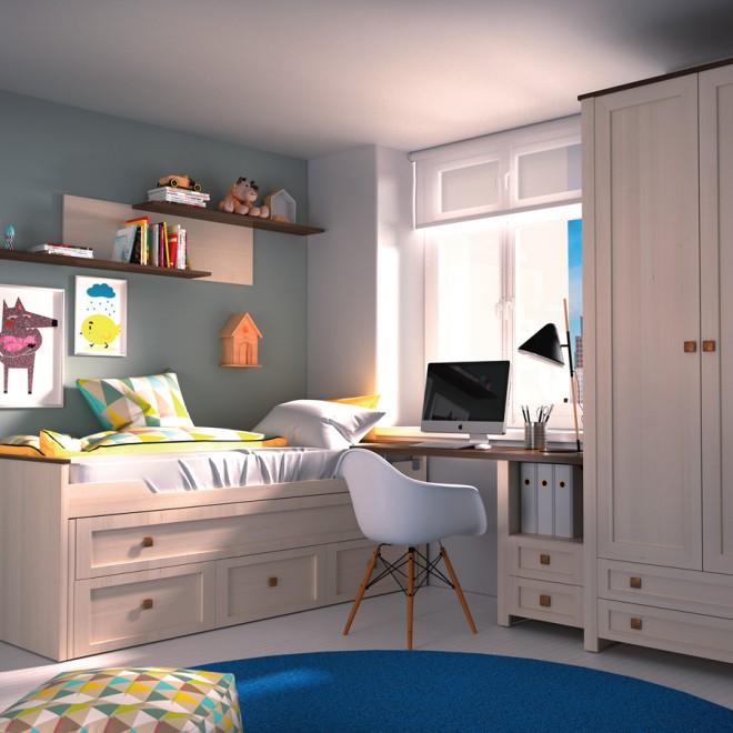 Dormitorio juvenil baku cama compacto muebles room for Dormitorio juvenil cama 105