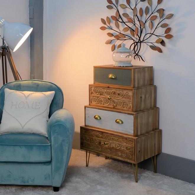 Mueble cajones natural muebles room for Mueble salon cajones