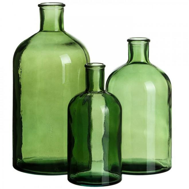 Jarrones vidrio reciclado 3 medidas muebles room for Jarrones de vidrio decorados