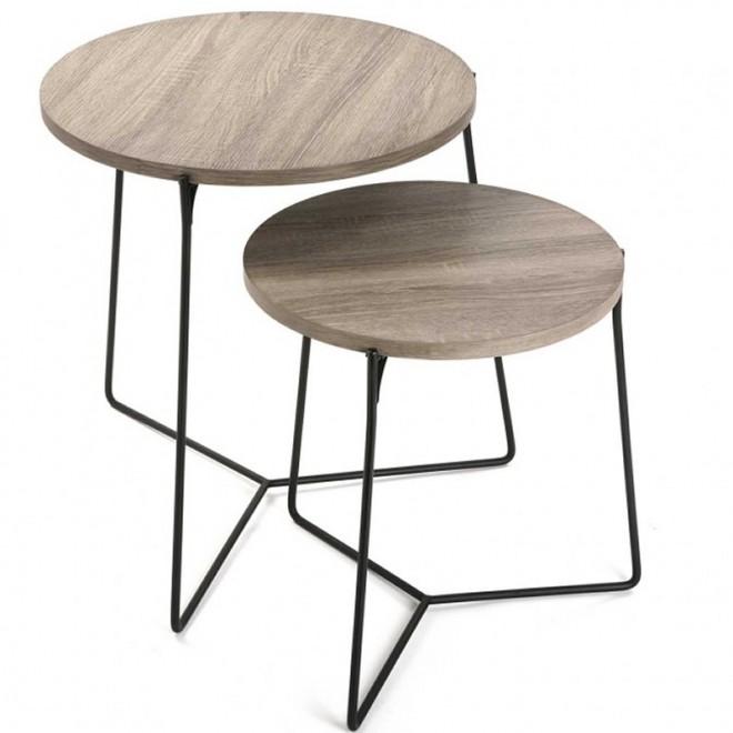 Set 2 mesas auxiliares roble fresno muebles room - Mesas auxiliares pequenas ...