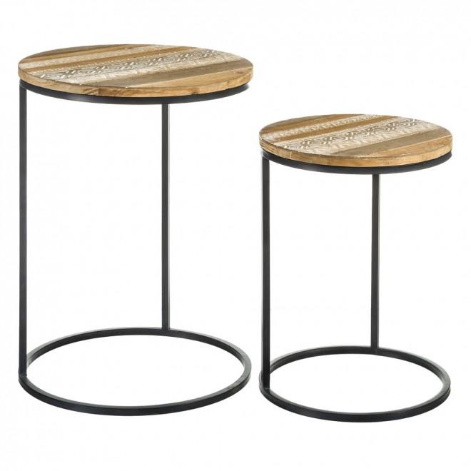 set 2 mesas auxiliares madera