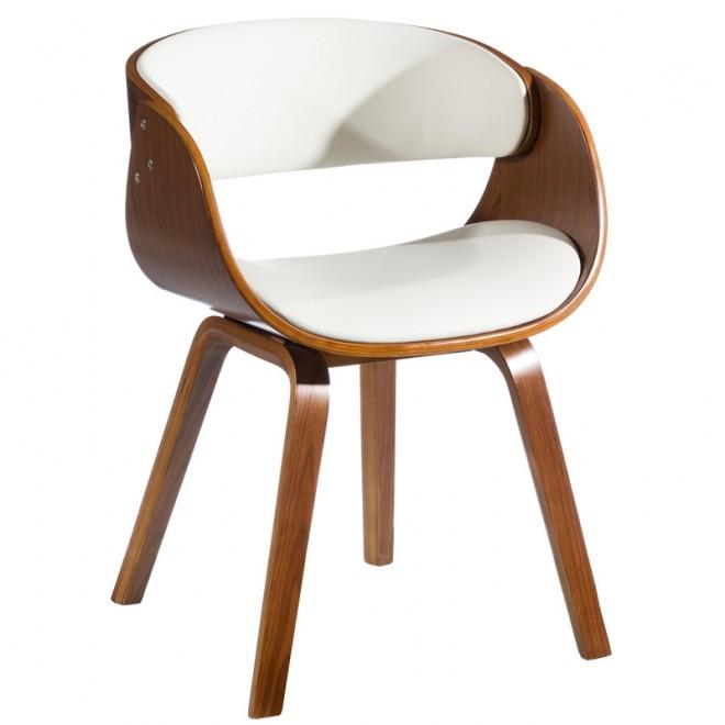 Silla madera de nogal ecopiel blanca muebles room for Silla madera blanca
