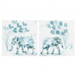 Cuadros elefantes azul 60x60