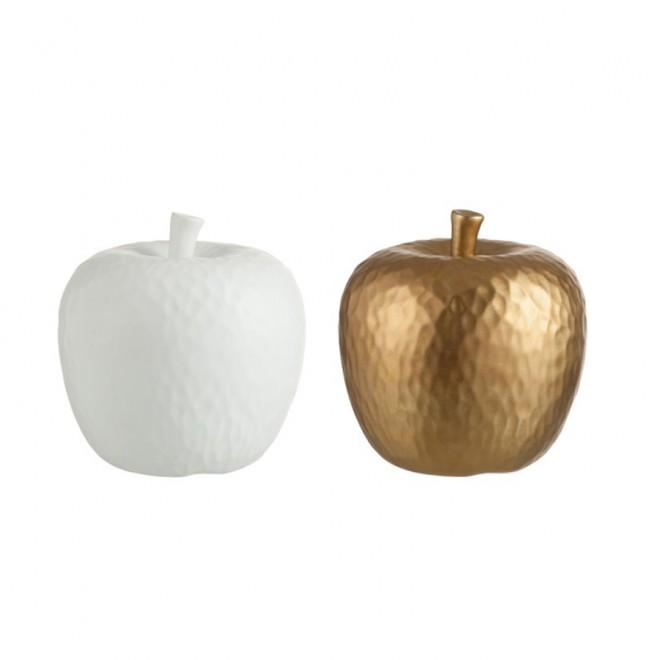 Figuras manzana Blanco y oro medianas