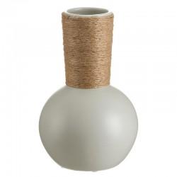 Jarrón redondo gris bambú 25 cms