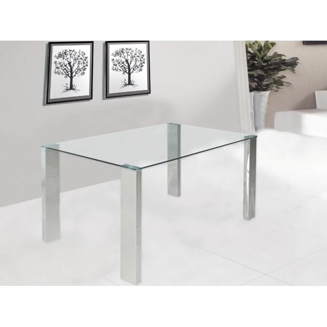 Mesa stahl acero y cristal muebles room - Mesas comedor cristal y acero ...